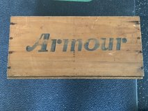 Vintage Armour wooden crate in Okinawa, Japan