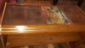 coffee table wood with glass top in Fort Polk, Louisiana