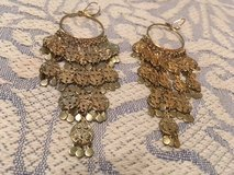 Belly Dancer Earrings Vintage Gold Color Long Lightweight Beautiful French Hooks in Houston, Texas