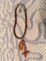 Vintage Leather Bracelet Braided Brown with Coral Beads and Quartz Polished Stone Dangles Adjust... in Houston, Texas