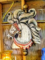 antique signed carousel horse head in Cherry Point, North Carolina