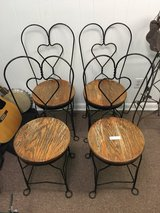 4 Vintage Wrought Iron Heart Ice Cream Parlor Chairs in Beaufort, South Carolina