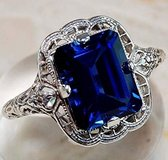 MOTHER'S DAY SPECIAL ***BRAND NEW*STUNNING Sapphire Emerald Cut Ring***SZ 8 - in Kingwood, Texas