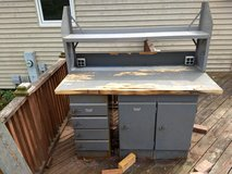 Vintage Workbench - Includes Wood Butcher-Block Work Surface, Metal Cabinets, and Metal Shelf Unit in Bolingbrook, Illinois