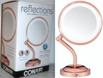 New! Conair LED 1X/5X Rose Gold Makeup Mirror in Naperville, Illinois