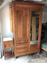 Antique French Armoire and Side Table in Kingwood, Texas
