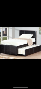 New! Quality twin platform leather bedframe w/trundle pullout!! in Camp Pendleton, California