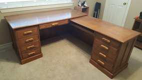 "SUPER QUALITY LARGE EXECUTIVE DESK ALL SOLID OAK CARVED ""L- SHAPE"" DESK in Kingwood, Texas"