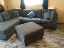 Gray Sectional Couch w/ Bed n Ottoman in Okinawa, Japan