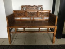 Traditional Chinese Carved Bench in Okinawa, Japan