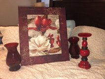 maroon and floral frame w LG red candle stick holders in Conroe, Texas