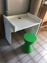 sturdy white desk & green stool in Ramstein, Germany