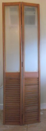 """2 sets Folding Wooden Louvered Closet Doors.  6'8"""" tall. in Conroe, Texas"""