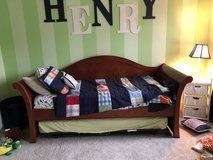 Wood daybed, trundle bed, mattresses, and matching dresser/armoire in Elgin, Illinois