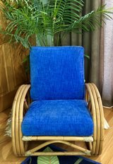 Vintage Rattan pretzel arm blue designer upholstery soft fabric in Glendale Heights, Illinois