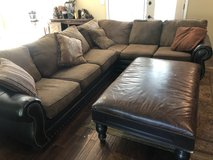 HUGE Sectional Couch w/ Giant Leather Ottoman in Bolingbrook, Illinois