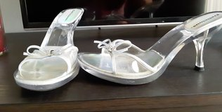 Silver low heels, all clear, see through. in Spring, Texas