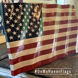 Waving American Wood Flag in Fort Campbell, Kentucky