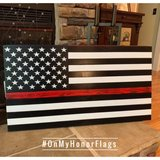 Thin Red Line American Rustic Wood Flag in Fort Campbell, Kentucky