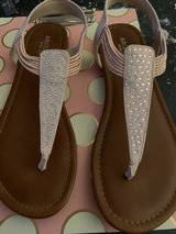 blush colored sandals with rhinestones and they have suede as well in Baytown, Texas