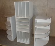 Stackable white laminate storage cubes in Yorkville, Illinois