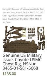 Genuine US Military Issue,USMC Chest Rig (used 3 times) in Camp Pendleton, California