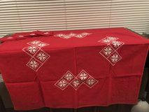 Small Red Tablecloth & 4 Napkins in Okinawa, Japan