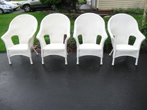 4 White High Back NCI Wicker Chairs-All Weather in Joliet, Illinois