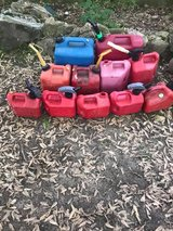 Assorted gas cans in Fort Leonard Wood, Missouri