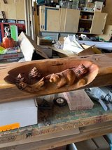 Hand carved mantle in Yucca Valley, California