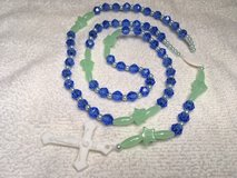 Rosary Boys Blue and Green Acrylic Beads Glow in the Dark White Medal and Crucifix Metal Free in Kingwood, Texas