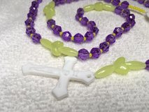 Rosary Girls Purple and Yellow Glow in the Dark Beads Acrylic Heart Pater Beads White acrylic Me... in Kingwood, Texas