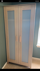 2 IKEA Aneboda wardrobe, birch Oak look with frosted center panels in Chicago, Illinois