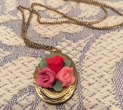 Vintage Locket on Vintage Chain Roses and Leaves Gold Color with Designs Locket Opens in Kingwood, Texas