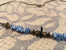 Vintage Necklace Silver Hishi Beads Blue Nuggets and Silver Beads Screw Ckasp in Kingwood, Texas