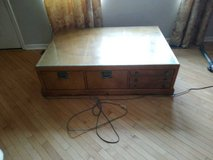 Burl wood coffee table,TV stand and end table in New Lenox, Illinois