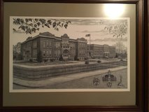 Clarksville high school drawing by Tony Biagi framed and matted in Fort Campbell, Kentucky