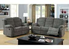 NEW! COMFY GREY FABRIC / QUALITY SOFA LOVE 2PC RECLINER LIVING ROOM SET! in Camp Pendleton, California