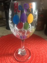 wine glass painted in Camp Lejeune, North Carolina