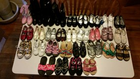 Lot 30 Pair Girls Dress Shoes, Sandals, Boots, Slippers and Water Shoes in Oswego, Illinois