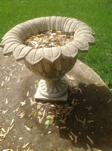 Pair of Floral designed Cement Urns in Naperville, Illinois