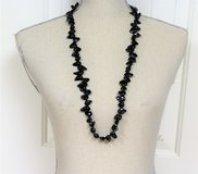 "NWOT 18 KGP 34"" Black Polished Stone Tourmaline Necklace Pendant Chain Strand in Kingwood, Texas"