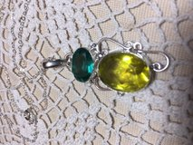 Pendant Large Yellow Quartz and Teal Colored Topaz Stone Faceted Silver Setting Sterling Silver ... in Houston, Texas