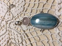 Pendant Beautiful Blue Striped Botswana Agate Large Pink Quartz Silver Setting on Sterling Silve... in Houston, Texas