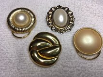 Vintage Scarf Clips Lot of 4 Gold Colored Metal Various Shapes and Sizes Three with Pearl Type S... in Houston, Texas