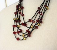 NWOT Black Cord Red Gold Bead Multi Strand Necklace Statement Chain in Kingwood, Texas
