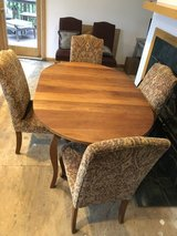 Crate and Barrel Teak dining table and 8 chairs in Naperville, Illinois