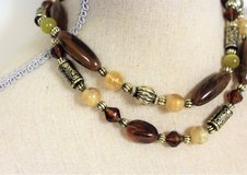 """NWOT Silver Tone Red Brown 18"""" Cross Bead Yellow Beige Stone Strand Necklace Pendant in Kingwood, Texas"""