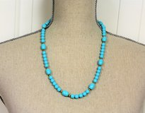 "NWOT Turquoise Blue Faux 24"" Gold Tone Bead Strand Necklace Pendant Statement in Kingwood, Texas"