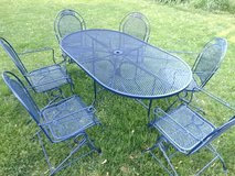 Navy Blue 6 Chair Oval Table in Aurora, Illinois